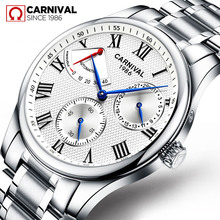 Carnival-reloj mecánico de lujo para hombre, reloj masculino con movimiento automático, correa de acero inoxidable, masculino