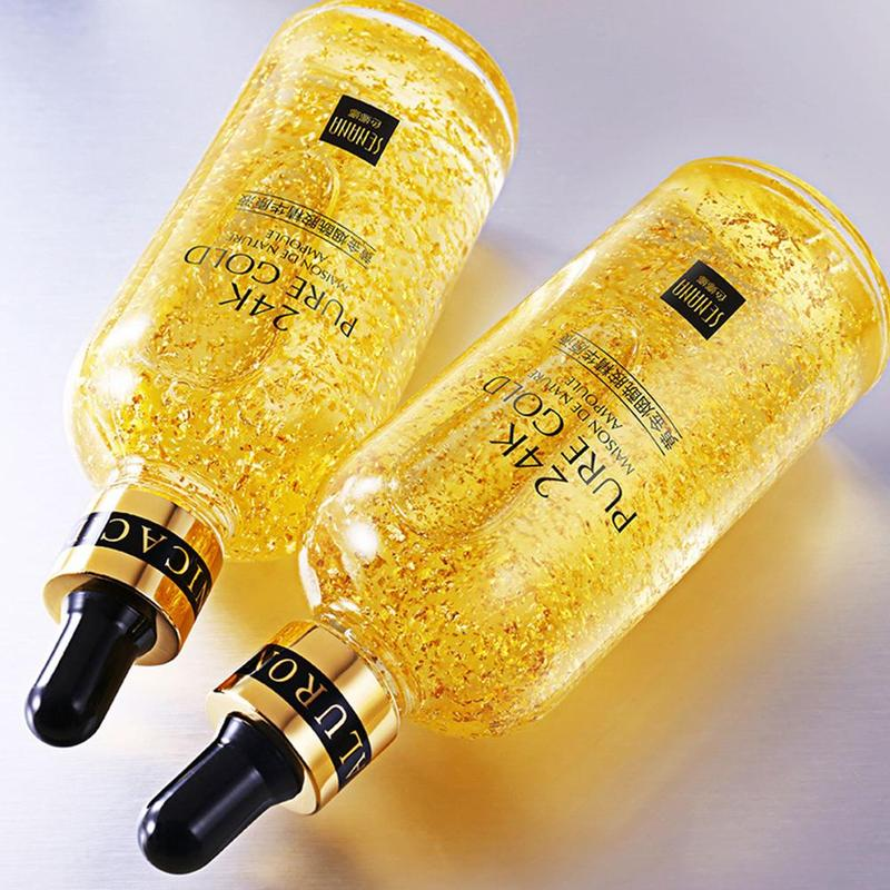24K Gold Hyaluronic Acid Fae Serum Moisturize Shrink Pore Brighten Nicotinamide Facial Lift Firming Skin Care