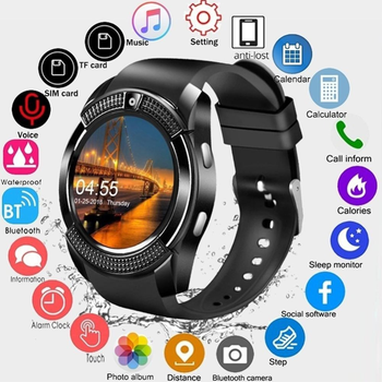 цена на V8 Smart Watch Bluetooth Smart Watch Touch Screen Wrist Watch With Camera SIM Card Slot Waterproof Sports Watch For Android IOS