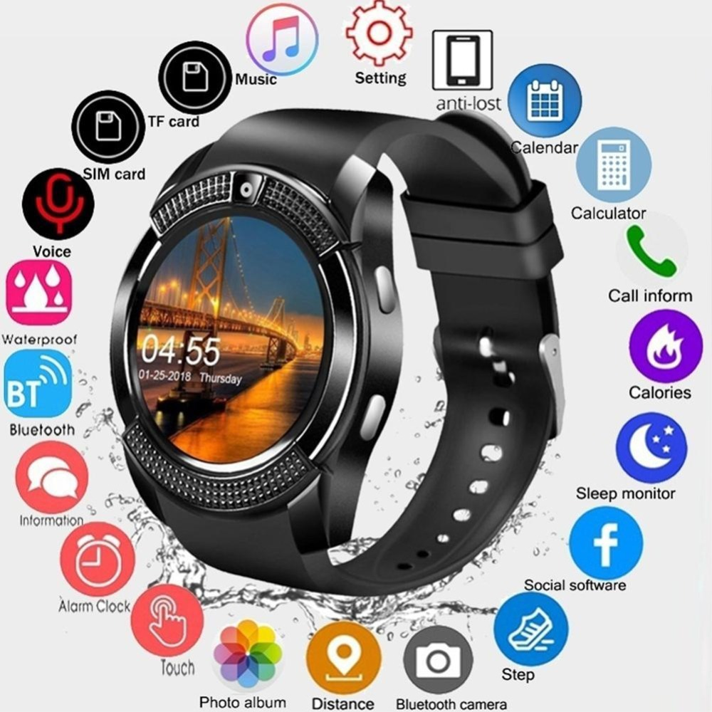 V8 SmartWatch Bluetooth Smart Watch Touch Screen Wrist Watch With Camera SIM Card Slot Waterproof Sports Watch For Android image