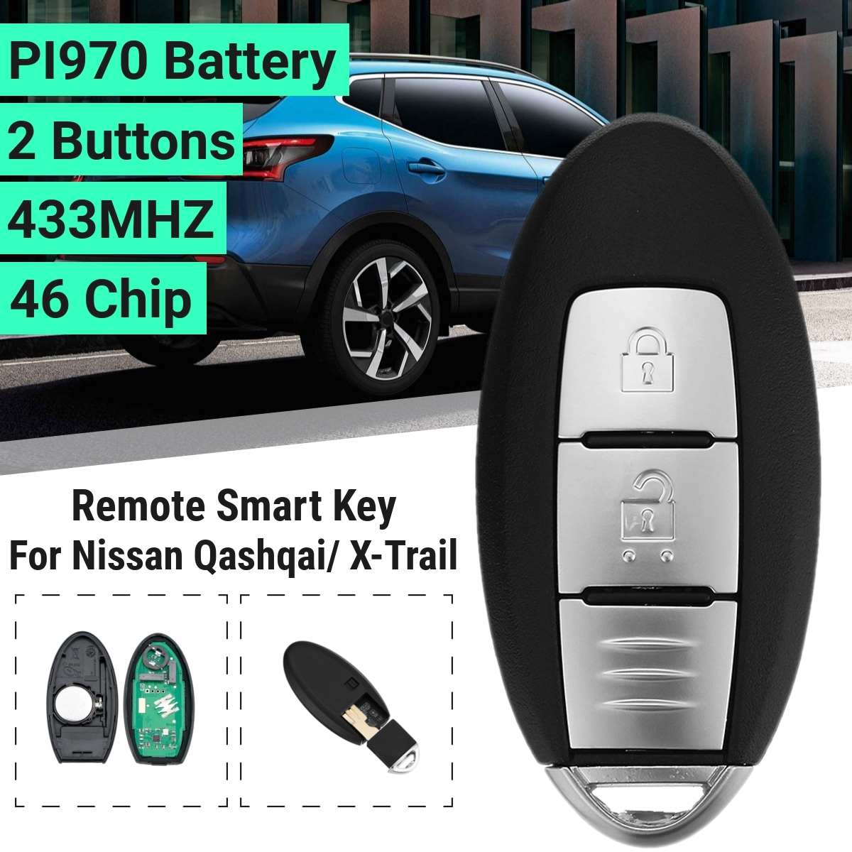2 botão chave do carro remoto inteligente caso fob j458 para nissan qashqai x-trail 433 mhz 46 chip pi970 bateria