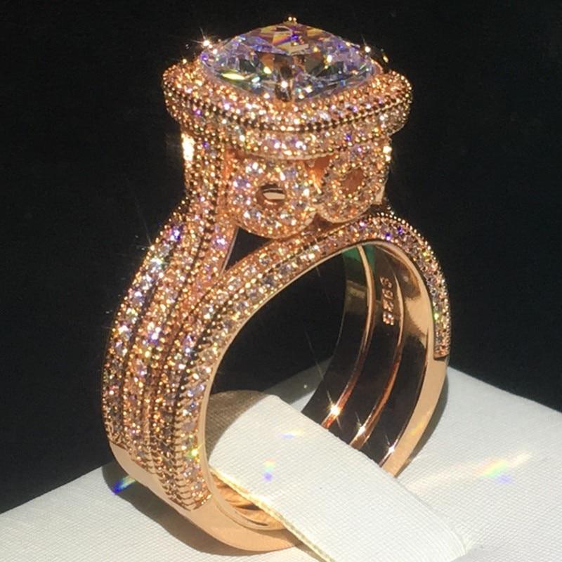 Vintage 18k rosa ouro aaaaa cz anel define 925 prata esterlina noivado casamento anéis de banda para mulher nupcial jóia festa