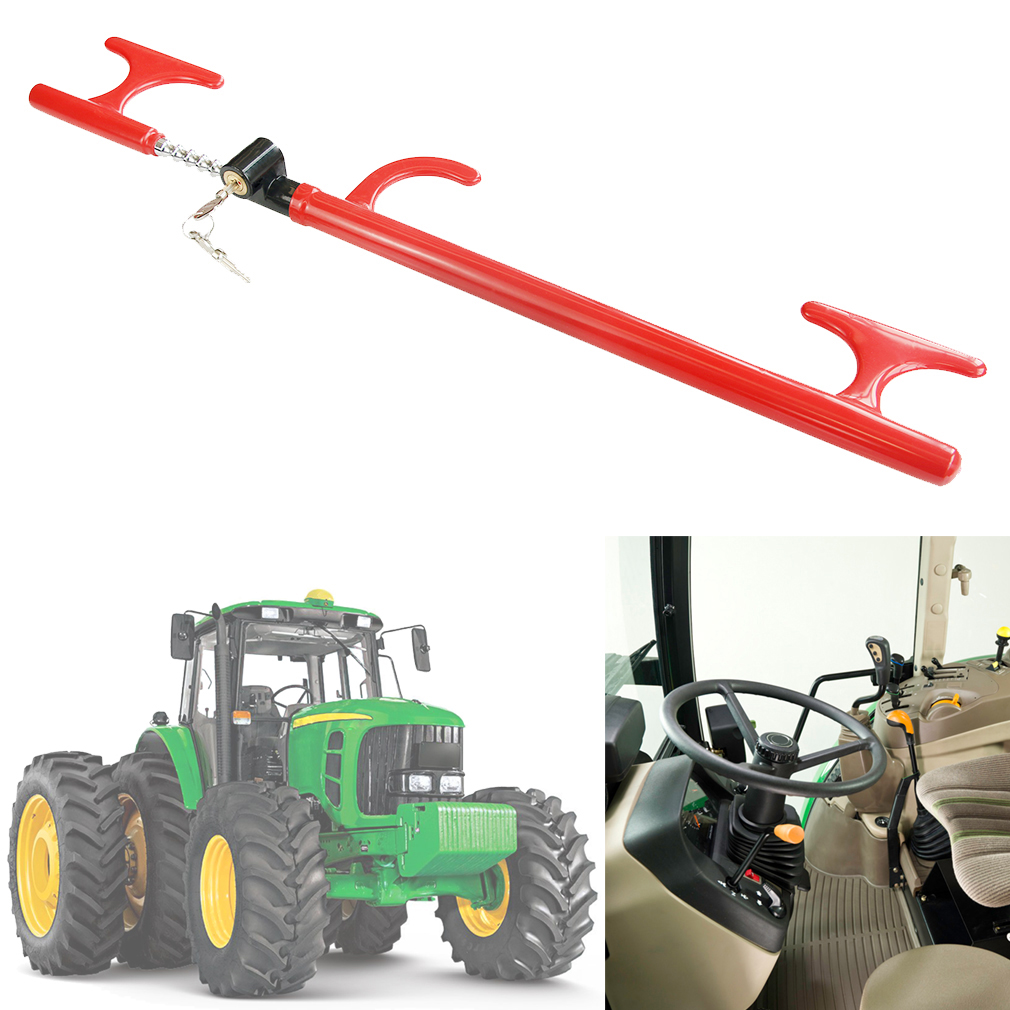 Anti-Theft Steering Wheel Lock Handbrake Lock Adjustable Twin Hooks Lock Security for Truck Car SUV Tractor Golf Cart