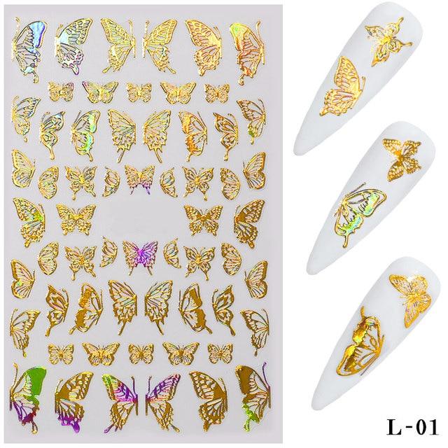 Фото 1 лист золотистых серебристых 3d наклеек для ногтей с бабочками