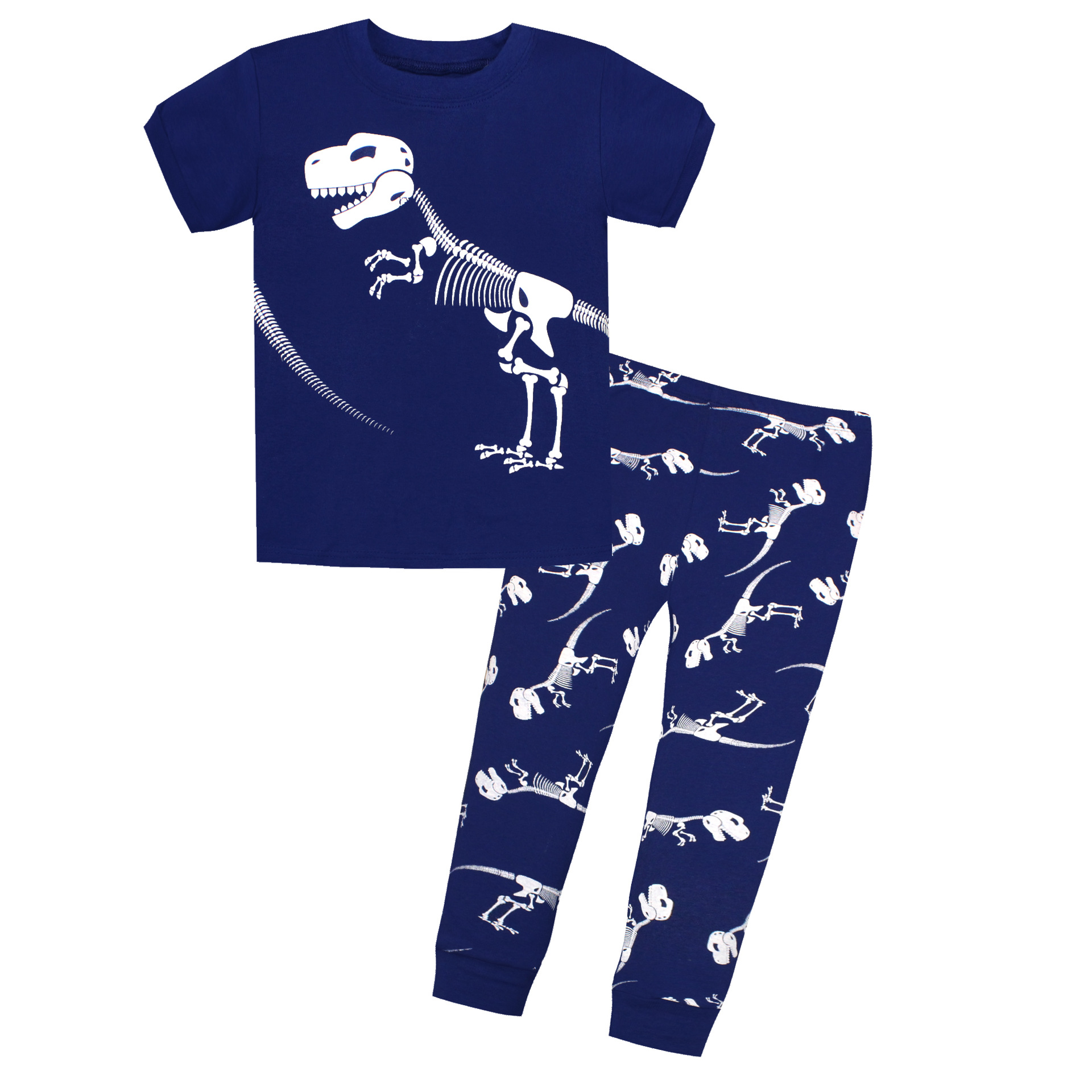 Spring And Summer New Products Tracksuit Short Sleeve Trousers Children Tracksuit Factory Direct Selling Blue Dinosaur