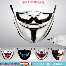 V para vendetta impresso terror impressão máscara adulto lavável tecido máscara la casa de papel crânio máscaras reutilizáveis moda rosto capa