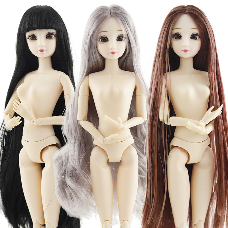 New 30cm 20 Movable Jointed Dolls Toys For Children Cute 3D Big Blue Eyes Female Naked Nude Doll Head Body Fashion Hair For Girl