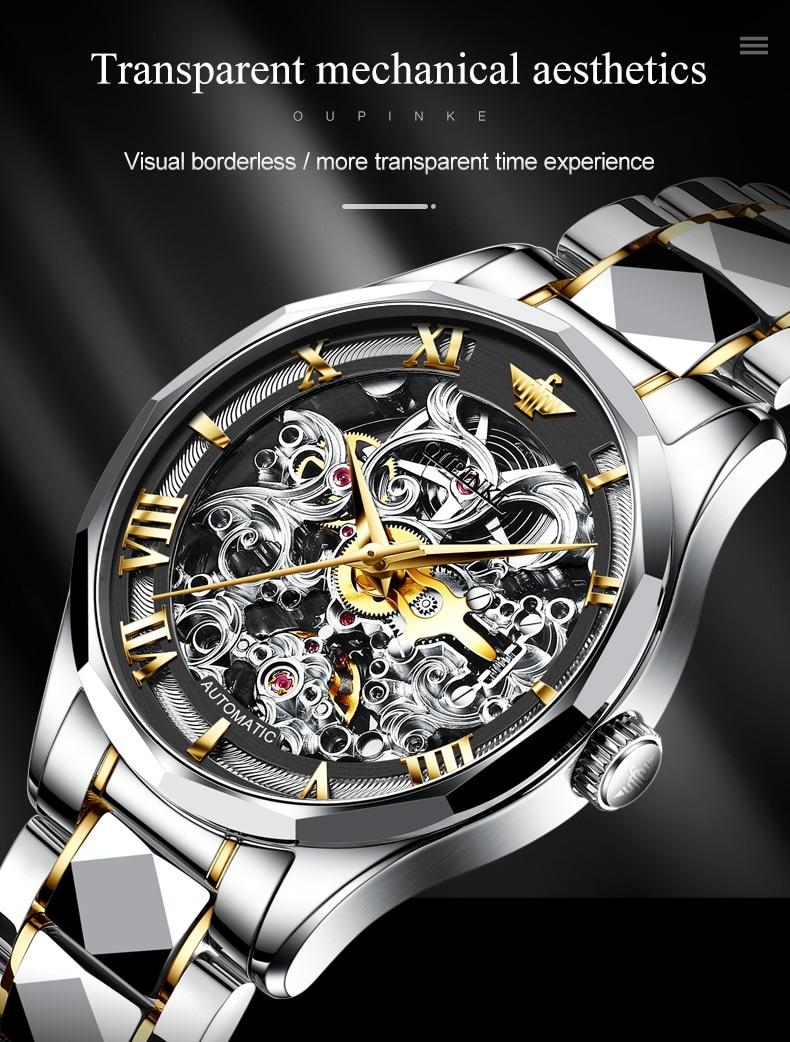Suíça oupinke luxo ouro relógios masculinos relógio
