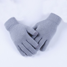Korean Style Autumn and Winter Touch Screen Gloves Woolen Women's Cute Warm with Velvet Thickened Knitting Student Gloves
