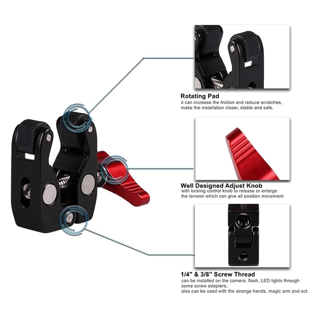 Multi-Function Ball Head Clamp Ball Mount Clamp Magic Arm Super with 1/4inch-20 Thread for Camera Cage Rig Monitor