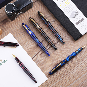 MoonMan M100 Gold Clip Fountain Pen Fine Nib 0.5mm High-end Business Gift Marble Surface Practice Writing Ink Pens with Gift Box