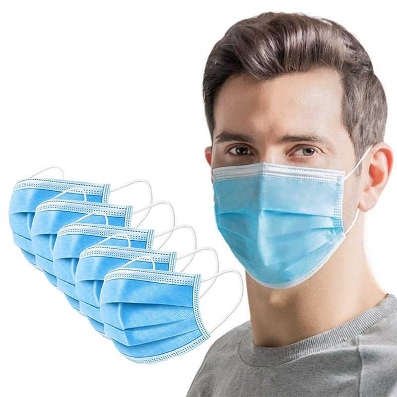 En Stock, máscara facial Coronavirus desechable, antivirus, no tejido, 3 capas, filtro grueso, máscaras transpirables para las orejas, para niños y adultos
