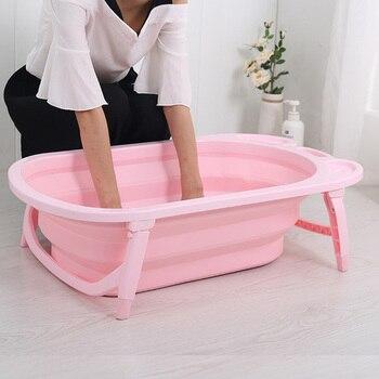 Bañera de bebé plegable con cilindro grande para el hogar, bañera para sentarse y tumbarse, Jacuzzi inflable