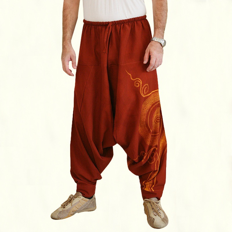 Autumn New Fashion Men Casual Loose Baggy Pants Male Drop Crotch Aladdin Ali Baba Yoga Wide Leg Harem Trousers Outfits Plus Size