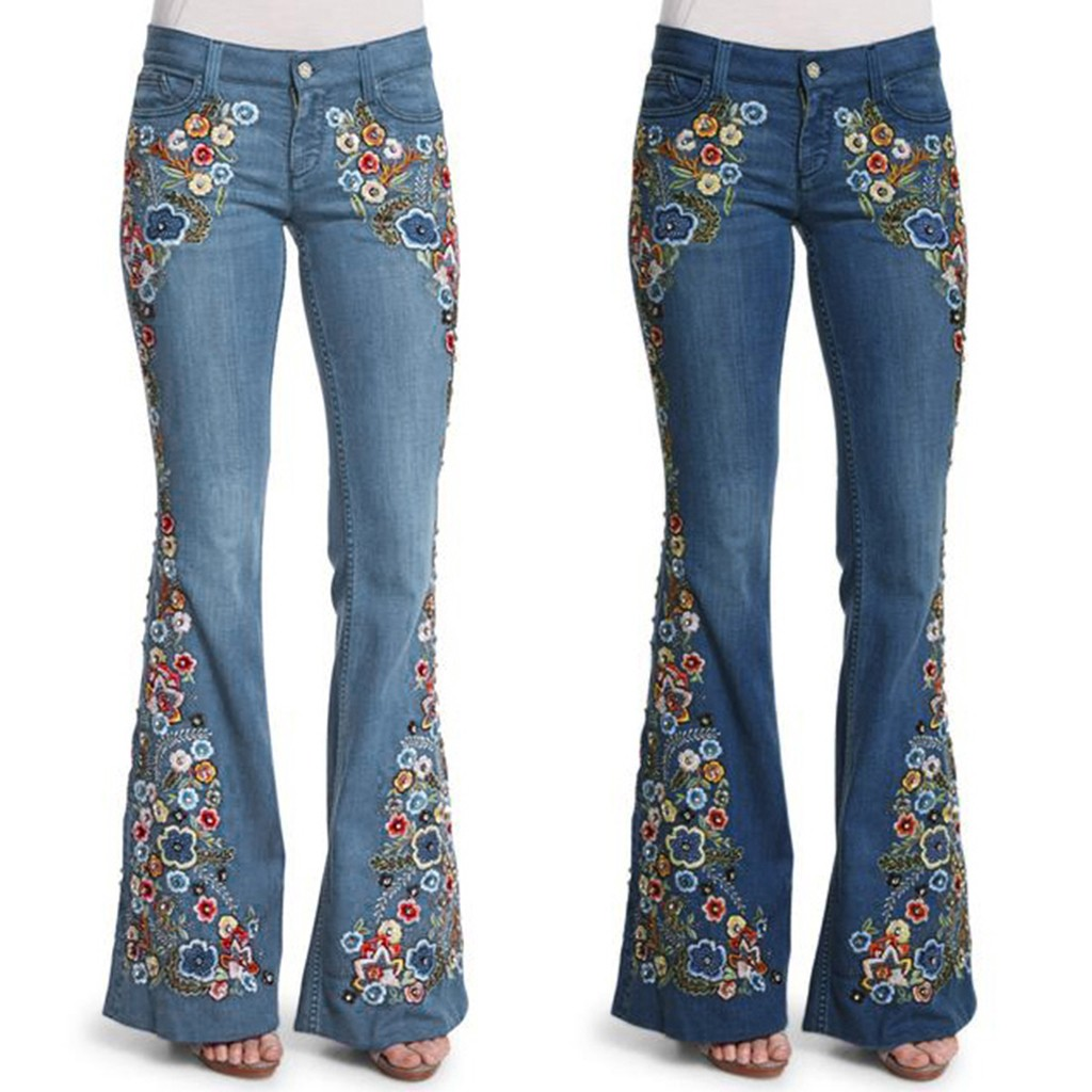 Flare Jeans Pants Trousers Embroidery Flowers Bottom Destoryed Winter Women Button Autumn title=