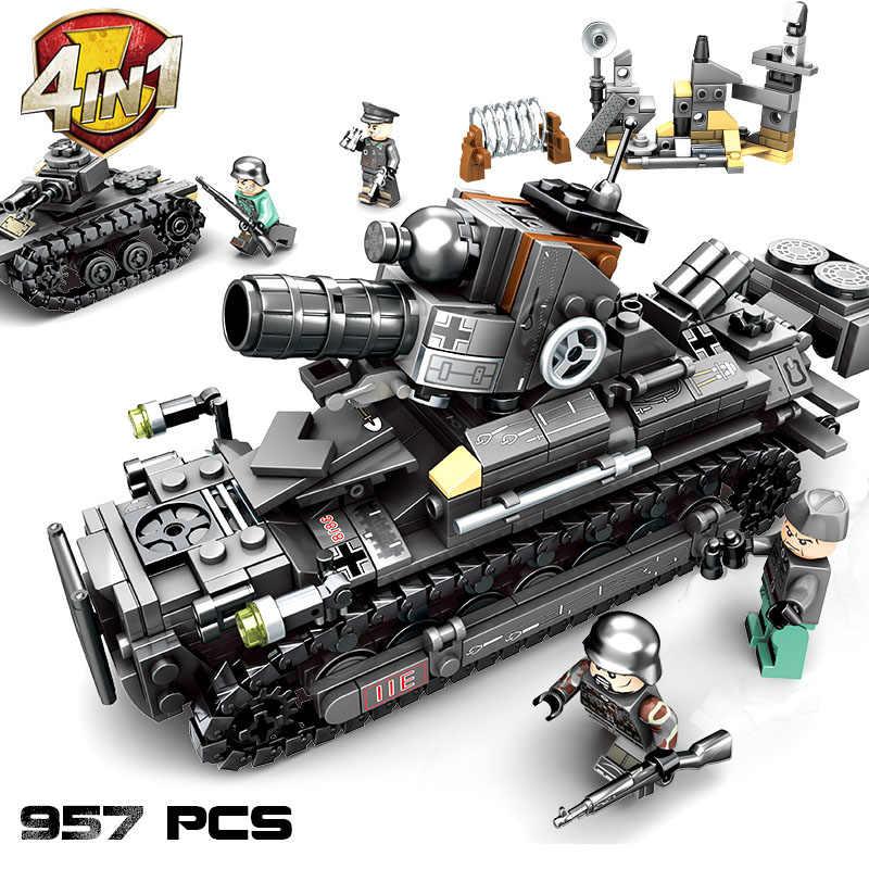 Sembo لبنات البناء 957 قطعة WW2 ألمانيا تانك الطوب الجيش المركبات العسكرية كتل الحرب العالمية 2 تانك أرقام لعب للأطفال