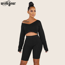 Solid Color Knitted Ribbed Two Piece Set Woman Sexy Off The Shoulder Long Sleeve Crop Top Knee Length Pants Ribbed Trackesuit off the shoulder checked long sleeve crop top