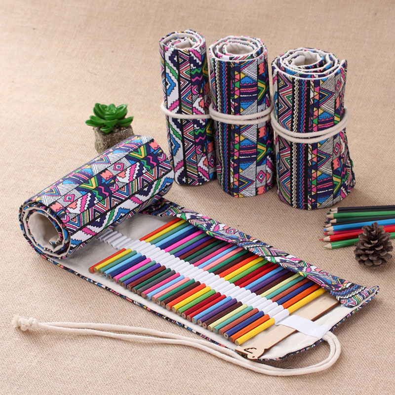 New 36/48/72 /108 Holes Pencil Bag Canvas Wrap Roll Up Pencil Case Student Stationery Supplies Pen Storage Bag Gift