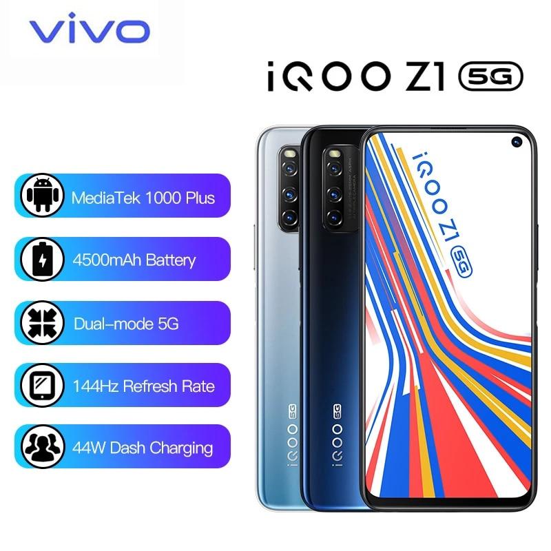 Оригинальный Vivo iQOO Z1 5G MediaTek 1000 плюс Celular 4500 мА/ч, 44W зарядки 144 Гц Частота обновления 48MP основной Камера мобильный телефон