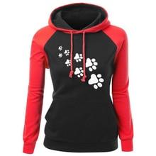 Women Long Sleeve Patchwork Hoodie Casual Printed Hooded Sweatshirt  Autumn Winter Pocket Pullovers Sweatshirts Tops