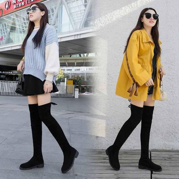 แฟชั่นสีดำเซ็กซี่เข่าบู๊ทส์สตรีฤดูหนาวหญิงรองเท้าผู้หญิง Lace Up แฟชั่นรองเท้าส้นสูงฤดูใบไม้ร่วง