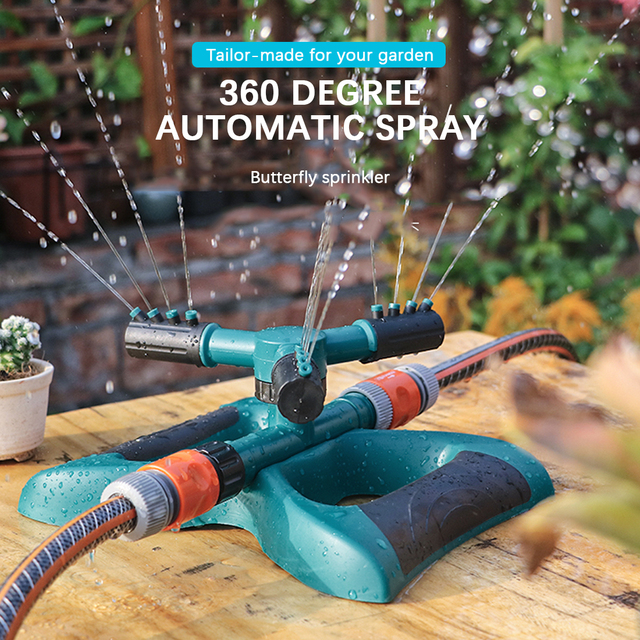 360 Degree Automatic Garden Sprinklers Watering Grass Lawn Rotary Nozzle Rotating Butterfly Water Sprinkler Garden Supplies