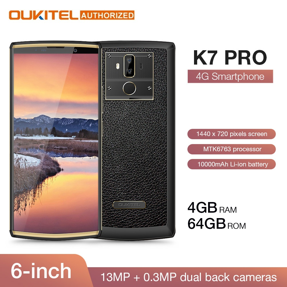 Oukitel k7 pro 4g ram 64g rom smartphone android 9.0 mt6763 octa núcleo 6.0
