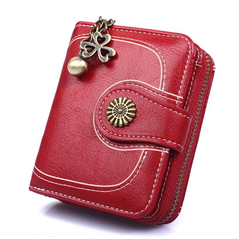 Women's Wallet Vintage Wallet 2020 Waxed Leather Women Zipper&Button Purse Tassels Card Holder Coin Pocket Wallet Portfel Damski