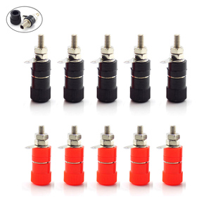 10pcs 4mm Banana Plugs Posting Connector Splice Terminals For Amplifier Speaker Terminal Audio Jack Red and Black DIY Connectors