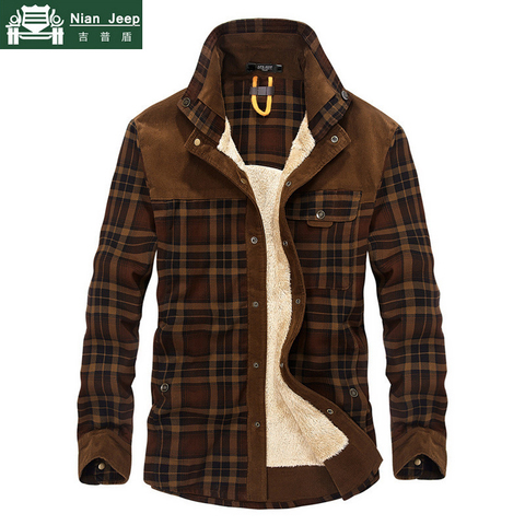 Brand Spring Winter Thick Plaid Shirt Men Long Sleeve Turn-down Collar Cotton Casual Wool Liner Warm Mens Shirts Chemise Homme Pakistan