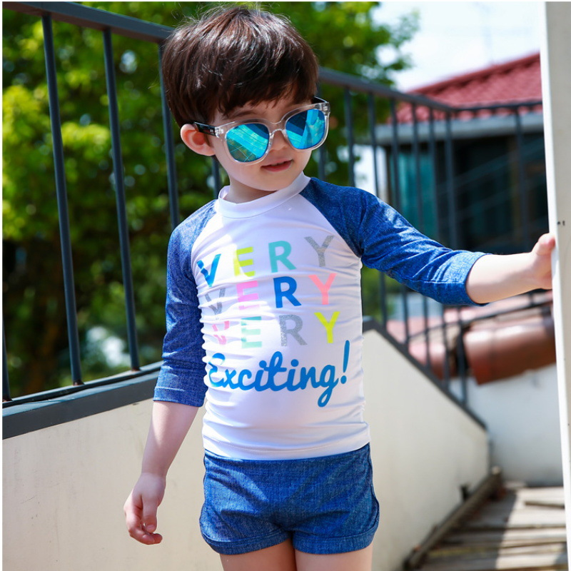 New Style KID'S Swimwear Printed Men And Women Children Two-piece Swimsuits Sun-resistant Boxers Small Middle And Large Baby Spl