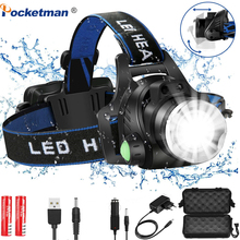 Led Headlamp L2/T6 Zoomable 6000/8000lumens Headlight Head Torch Flashlight Head lamp 18650 battery for Fishing Hunting