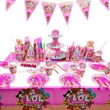 Lol surpresa bonecas aniversário lols festa tema decoração suprimentos férias copo placa colher bolo suporte atividade evento presente da menina do miúdo