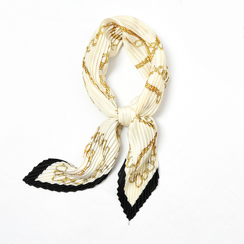 2020 Women Pleated Neck Scarf Silk Soft sweet Bandana Spring Design Print Foulard Crinkle Fashion Handkerchief 55*55cm