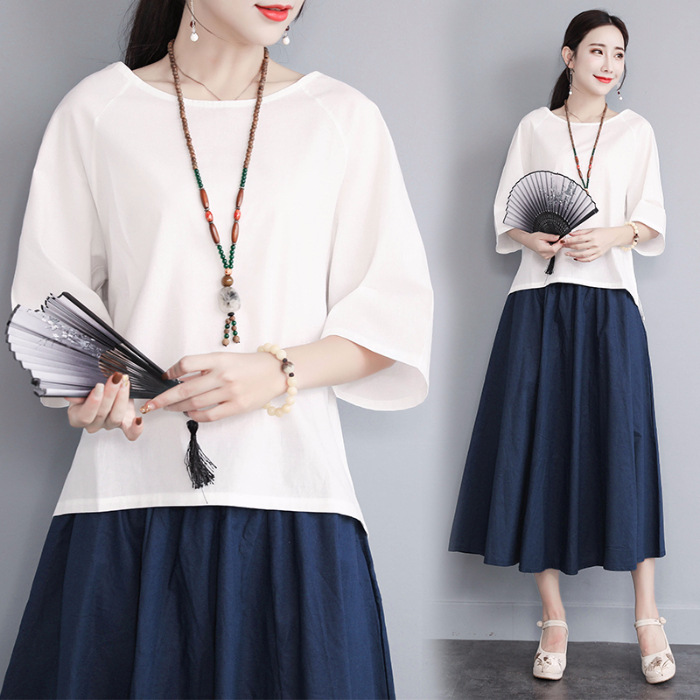 2019 Summer New Style Flax Skirt Large Size Loose-Fit Slimming Retro Cotton Linen Dress Women's Two-Piece Set