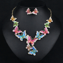 New Elegant Butterfly Bridal Jewerlry Sets Drop Earrings Indian Statement Necklace Set Wedding Party