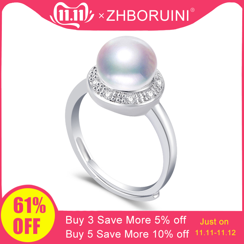 ZHBORUINI 2019 Fashion Pearl Ring Natural Freshwater Pearl Retro Zircon Round Rings 925 Sterling Silver Jewelry For Women Gift