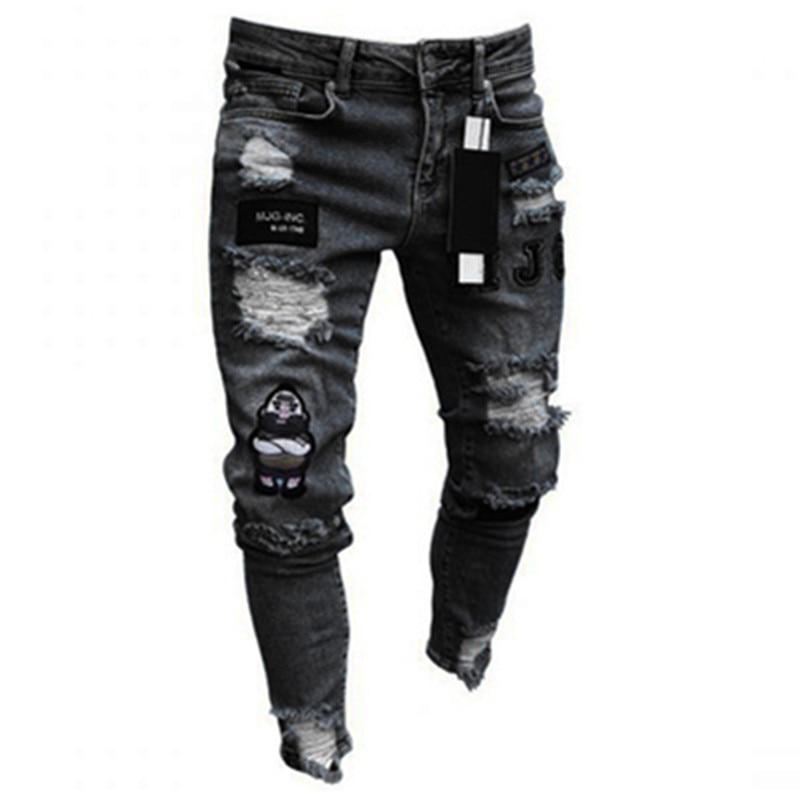 Männer Stretchy Zerrissene Dünne Biker Stickerei Cartoon Druck Jeans Zerstört Loch Slim Fit Denim Hohe Qualität Hip Hop Schwarz Jeans