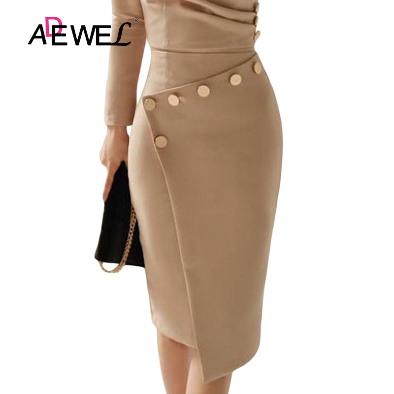 ADEWEL Button Detail White Ruched Bodycon Office Work Dress Women Long Sleeve V-Neck Party Midi Gown Dress 19