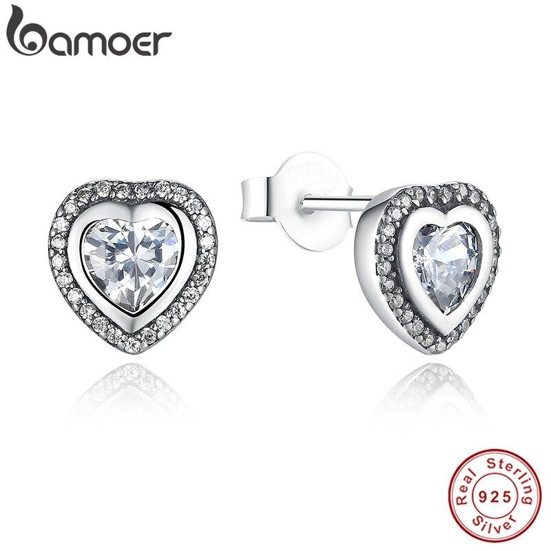 BAMOER 925 Sterling Silver Love Heart Shape Stud Earrings For Women Clear Cubic Zirconia Fashion Anniversary Jewelry PAS405