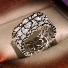 Nova moda jóias anéis de casamento para as mulheres design exclusivo oco padrão de renda do vintage royal court estilo noivado festa anel