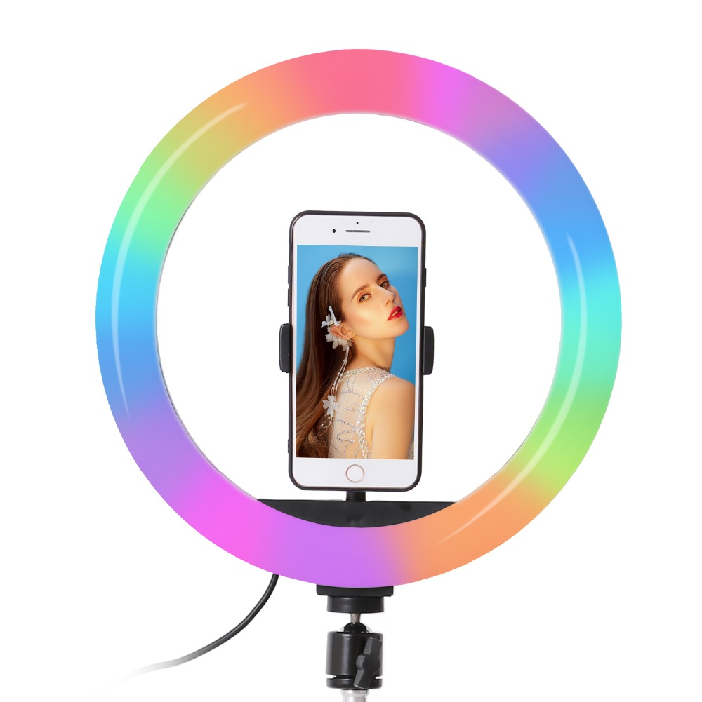 H4ca1f9bc93d9413e97b5d4dab24421ceC 26cm 33cm RGB Selfie Ring LED Light with Stand Tripod Photography Studio Ring Lamps for Phone TikTok Youtube Makeup Video Vlog