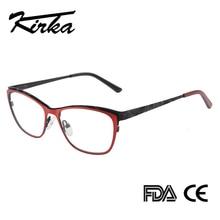 Kirka Gläser Rahmen Frauen Cat Eye Optische Myopie Brillen Metall Brillen Rahmen Frühjahr Scharnier Optischen Brillen Rahmen Brillen