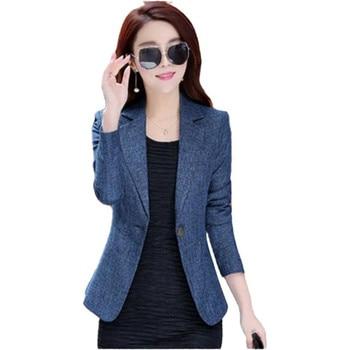 High Quality 2021 Spring Autumn Women Blazer New Style Winter One Button Work Wear Female Fashion Temperament Casual Suit Blue 1