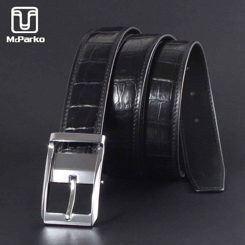 McParko Mens Belt Leather Genuine Crocodile Belts For Men Fashion Pin Buckle Dress Pants Waist Belts Casual Business Straps Male