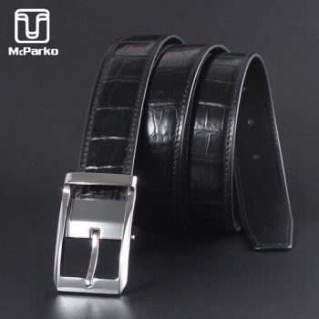 McParko Mens Belt Leather Genuine Crocodile Belts For Men Fashion Pin Buckle Dress Pants Waist Casual Business Straps Male