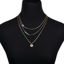 Bohemian Multilayer Chain Necklace Round Palm Pendant Women Vintage Jewelry Choker
