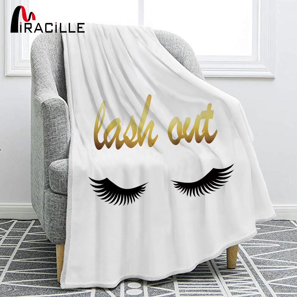 Miracille Smile Eye Eyelashes Soft Flannel Beautiful Eyes Sofa Comfort Throw Blankets Living Room Bedroom Decorating Blanket