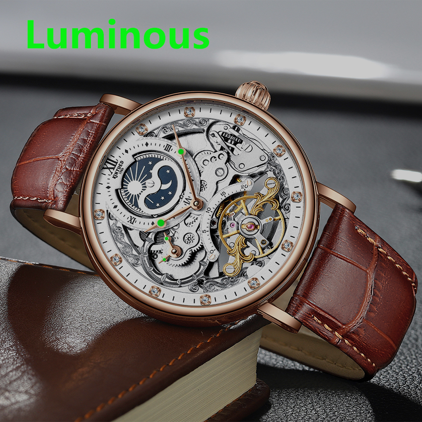 H4ca23115d514463eb327dbe107c7f48bg KINYUED Skeleton Watches Mechanical Automatic Watch Men Tourbillon Sport Clock Casual Business Moon Wrist Watch Relojes Hombre