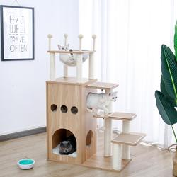 Fast Delivery Pet Cat Tree House Tower Condo Wood Cat Scratching Sisal-Covered Scratch Posts Pads with Play Ball for Cats Kitten